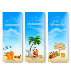 Tropical seaside with palms a beach chair and a vector
