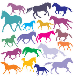 big set colorful trotting and galloping horses vector image vector image
