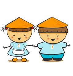 chinese children boy girl vector image