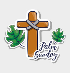 Sunday palm branches with catholic cross vector