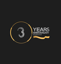 3 years anniversary logotype style with silver vector