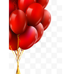 3d realistic red bunch flying birthday balloons vector