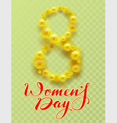 8 march international womens day yellow flower of vector image