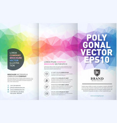 Abstract colorful geometric trifold brochure vector