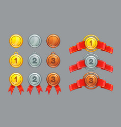 achievement ranking gold silver bronze medals vector image