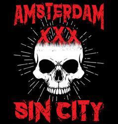 Amsterdam skull t shirt graphic design vector