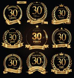 anniversary golden retro laurel wreath vector image