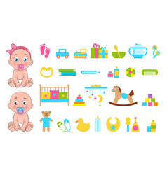 baby s toys collection icons vector image