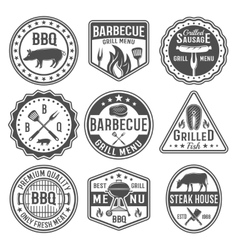 Barbecue Black White Emblems vector image