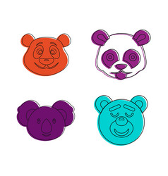 bear head icon set color outline style vector image
