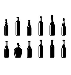 big set silhouette wine bottles vector image