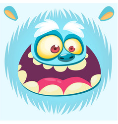 Bigfoot snowman face cartoon mask vector
