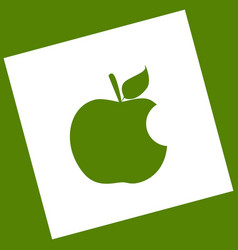 Bite apple sign white icon obtained as a vector