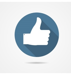 Blue Thumb Up Icon with Long Shadow vector