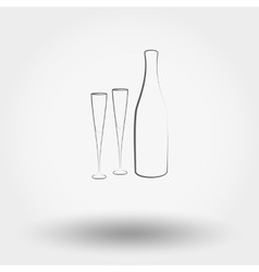 Bottle with champagne glasses vector image