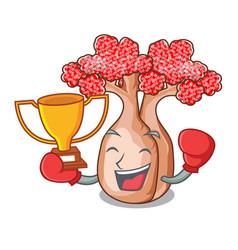 Boxing winner bottle shaped tree on a cartoon vector