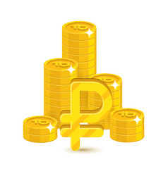 Bunch gold rubles isolated cartoon vector