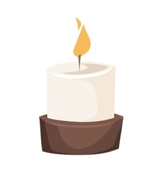 Burning candle in a stand flat vector