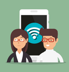 Business couple with wifi connection vector
