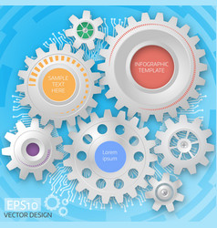 business template circuit board with 3d gears vector image