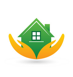 Caring hands holding a home symbol vector