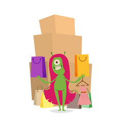 Cartoon cute monster shopping character vector