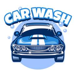 carwash classic car design vector image