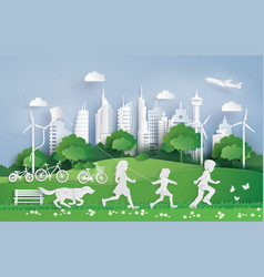 Children running in the city park vector
