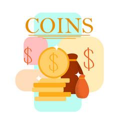 coins stack money bag cartoon vector image