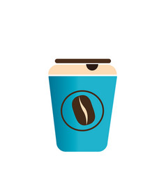 Color silhouette with disposable cup of cappuccino vector