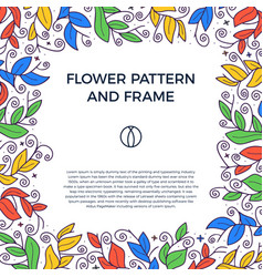 colorful hand drawn floristic frame border vector image