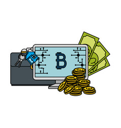 computer desktop with bitcoin vector image