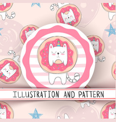cute unicorn cat - seamless pattern vector image