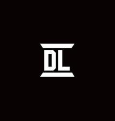 Dl logo monogram with pillar shape designs vector
