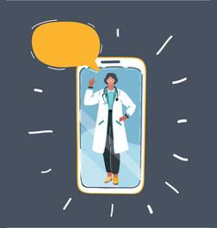 Doctor on phone screen vector
