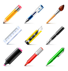 Drawing tools icons set vector