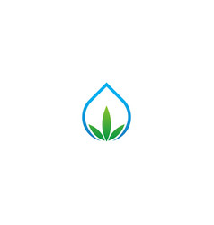 droplet green leaf eco logo vector image
