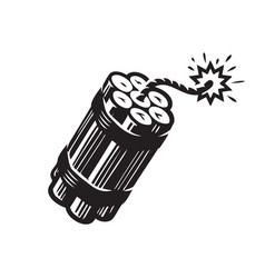 Dynamite with burning wick bomb explosive symbol vector