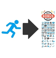 Exit Direction Icon With 2017 Year Bonus Symbols vector