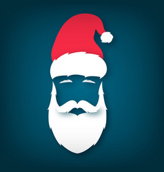 face santa claus paper art merry christmas vector image