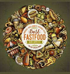 fastfood hand drawn doodles round vector image