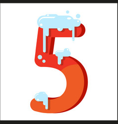 figure is 5 in the snow number five for the vector image