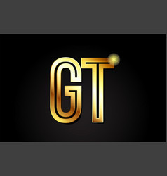 Gold alphabet letter gt g t logo combination icon vector