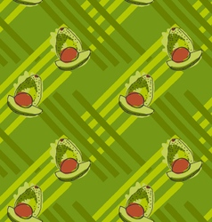 Green avocado with brown kernel on stripes vector