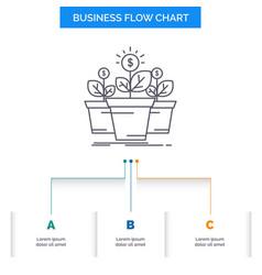 growth money plant pot tree business flow chart vector image
