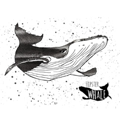 Hand drawn grunge watercolor whale vector