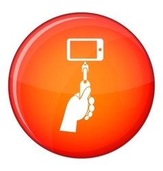 Hand holding a selfie stick with mobile phone icon vector