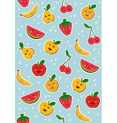 Happy fruits pattern background vector image