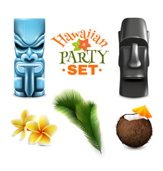 hawaiian party elements collection vector image