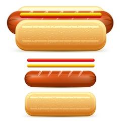 Hotdog ketchup mustard stilize vector